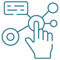 This graphic illustrates interactive elements, which is one feature that can be incorporated in a custom-developed e-learning course.