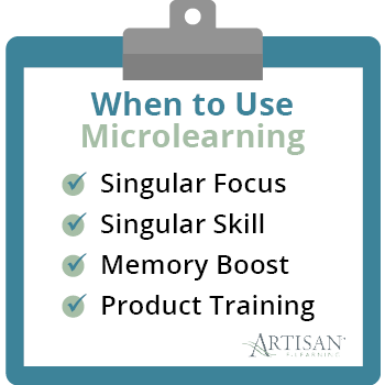These are scenarios in which your organization may choose to use microlearning.