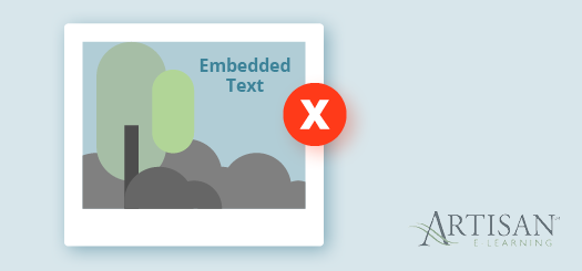 Embedded text in e-learning translations can be more trouble than it's worth.
