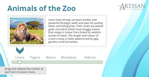 Example of using interactive slider displays in e-learning
