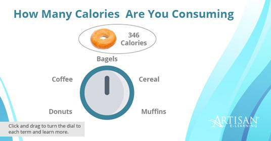 Calorie calculator example using dials with e-learning